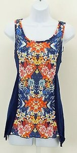 Style & Co Pm Navy White Orange Yellow Lace Back B341 Top Multi-Color
