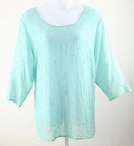 Avenue Soft 2628 Sheer Aqua Beaded Embroidered B347 Top Blue