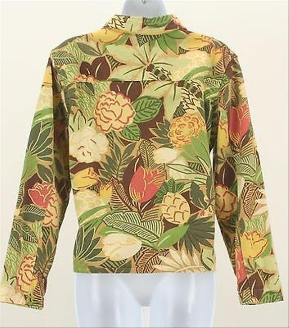 Coldwater Creek Pm Green Brown Tan Yellow Floral B349 Multi-Color Womens Jean Jacket