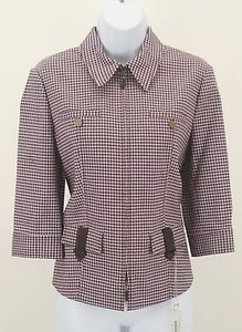 Worth Worth Brown Lavender Checked Zip Front Blazer B176