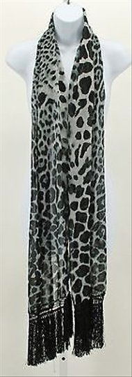 Other Black Gray Animal Print With 6 Fringe Ends B349