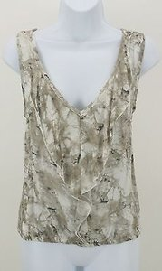 Stoosh Taupe Cream Gray V Neck Sleeveless Ruffle Elastic Hem B176 Top Multi-Color