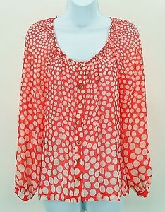 Trina Turk Intense Reddish Orange White Polka Dot Sheer Ls Boho B303 Top Red