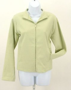 Eileen Fisher Ps Mint Green Short Mandarin Zip B121 Pear Jacket