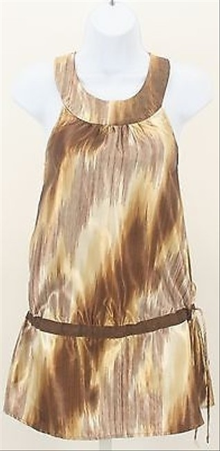 Max Rave Gold Brown Cream Shimmer Drawstring Waist Sleeveless B176 Top Multi-Color