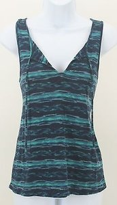 Lucky Brand Lucky Navy Teal Key Hole Front And Back Sleeveless B210 Top Multi-Color