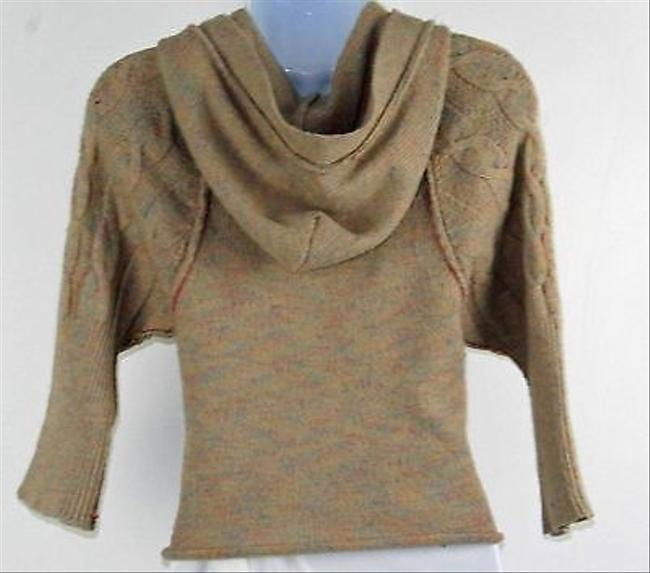 American Rag Tan Blue Snap Front Hooded Junior Cardigan B185 Sweater