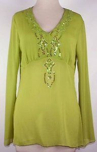 Tribal Lime Sequin Embellished V Neck Side Slit B157 Top Green