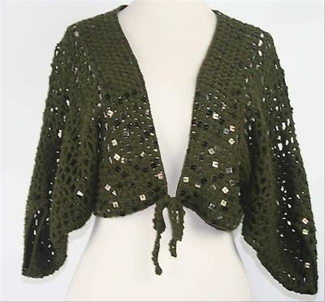 Other Isshu Olive Loose Weave Square Sequins Tie Front Cardigan B164 Sweater