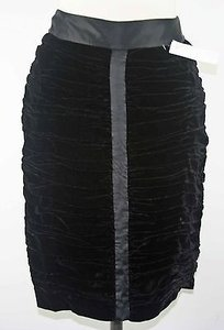 INC International Concepts Silk Velvet Ruched Satin Detail Pencil B164 Skirt Black