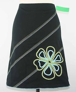 Other Heart Soul Black Aqua Olive Embroidered Flower B164 Skirt Multi-Color