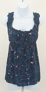 Tahari Navy White Tie Back Ruffle Neckline Silk B131 Top Multi-Color