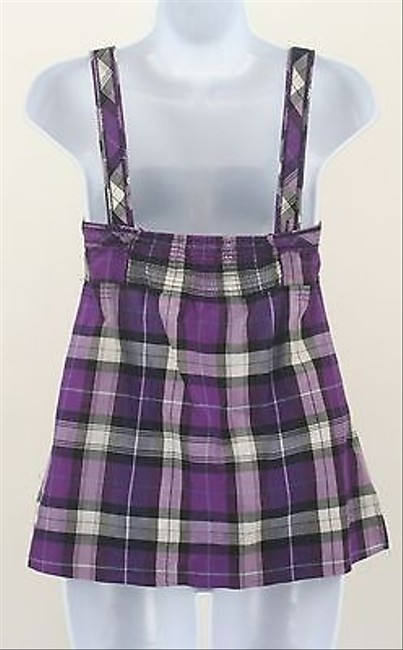 American Eagle Outfitters 0 Black Gray Plaid Smocked B210 Top Multi-Color