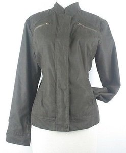 Chico's 1 Dark Faux Suede Peach Skin Zip Detail Front B60 Brown Jacket