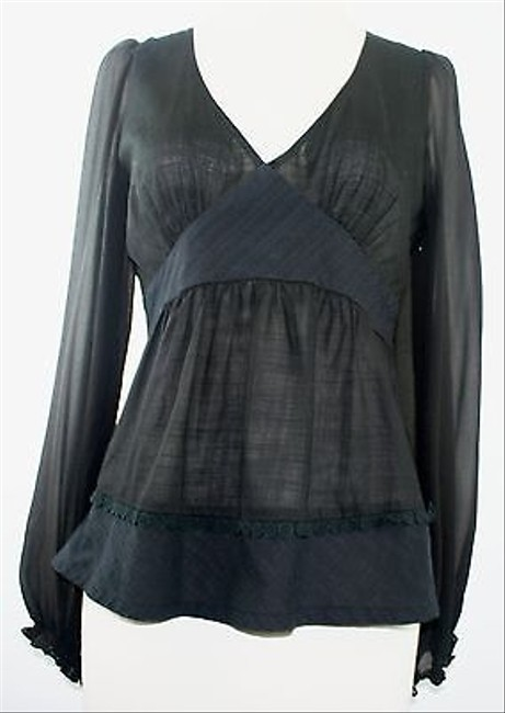 Odille Long Sleeve Sheer Empire Gathered B161 Top Black