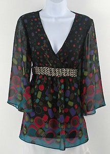 Bisou Bisou Black Red Lime Multi Chain Detail Empire Waist B220 Tunic