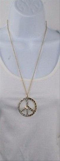 Other Gold Tone Rhinestone Peace Symbol Necklace Bj08