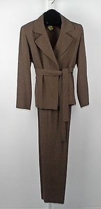 Emanuel Ungaro Emanuel 6p Heathered Brown Belted Pant Suit B221