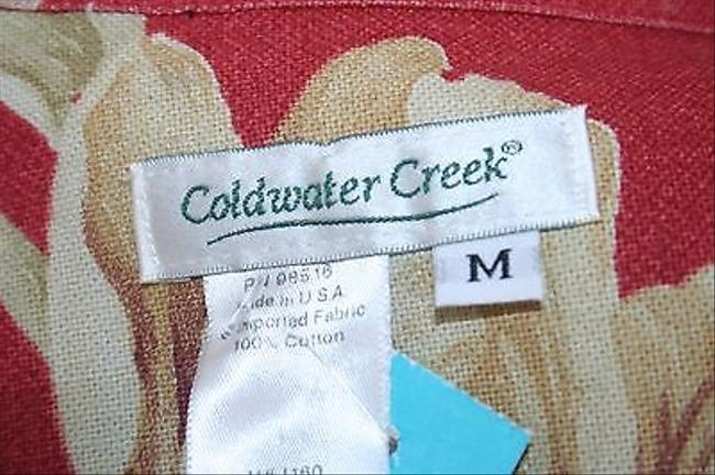 Coldwater Creek Tan Red Floral B298 Jacket