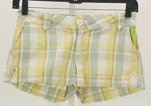 Roxy X Yellow Green White Plaid B293 Shorts