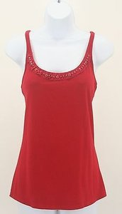 New York & Company Nyco Silver Faceted Neckline B131 Top Red