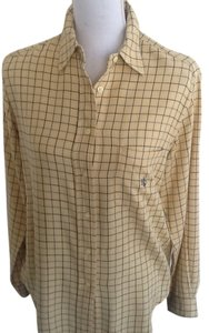 Ralph Lauren Classic Shirt. Rl Monogram Pocket Top Checked, Yellow, Brown and Black