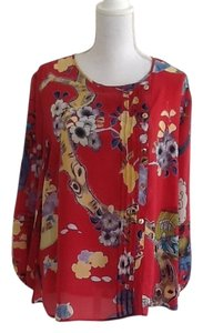 Citron Vintage Knockout Top Cherry Red Oriental print