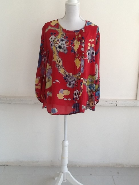 Citron Vintage Knockout Hand Washable. Silk Top Cherry Red Oriental print