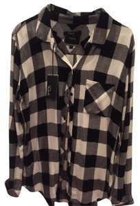 Rails Button Down Shirt Black and White
