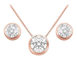 LoveBrightJewelry April Birthstone Cubic Zirconia Pendant and Stud Earrings Set in 14K Rose Gold Vermeil