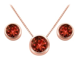 LoveBrightJewelry January Birthstone Garnet Pendant -Stud Earrings Set in 14K Rose Gold