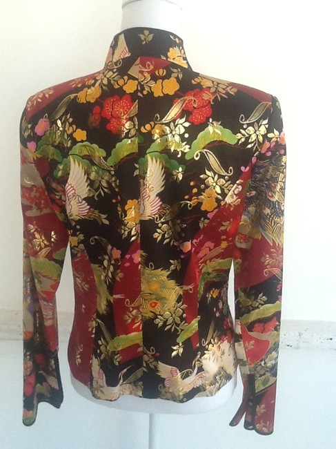 JS Collections Form Fitting Sexy Look Leaf Silk Multi color in rich Reds, Gold, Green and Black Jacket