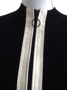 INC International Concepts Form Fitting Zippered. Spandex Sexy Black with white leather trim in front Jacket