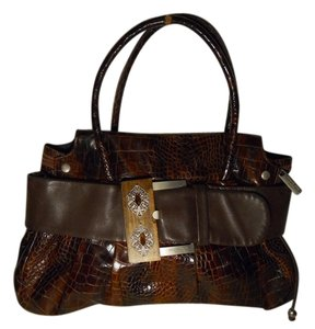 Renato Angi Leather Croc Shoulder Tote Satchel in brown