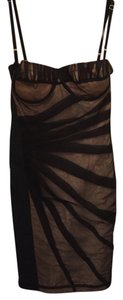 Dolce&Gabbana Black Mesh Roused Detachable Straps Bustier Dress