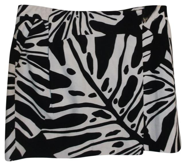Diane von Furstenberg Dvf Mini Leaf Print Wrap Mini Skirt Black White