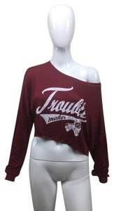 Other Shirt White Longsleeve Crop T Shirt Burgundy
