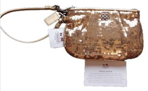Coach Sequin Wristlet in Gold