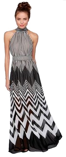 Black/White Maxi Dress by Ark & Co. Evening Sleeveless Party Chevron Striped