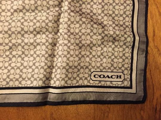 Coach Coach Black Grey Silk Stripe Mini Signature C Square Scarf 21 X 21