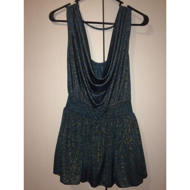 Forever 21 Top Teal/Gold