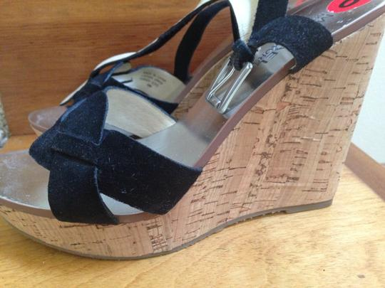 Michael Kors Suede Silver Strappy Black Wedges