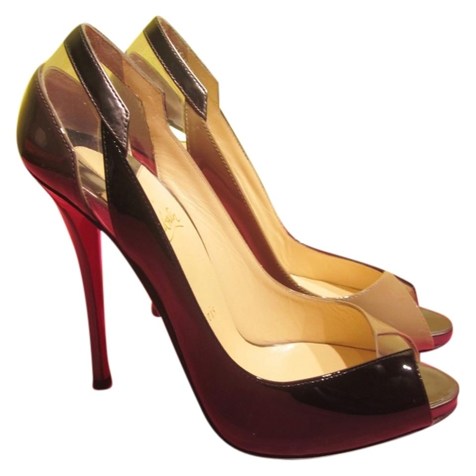 Christian Louboutin Nude Black Taupe Pumps 38.5 Tri ...