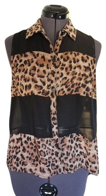 Other Tank Dressy Work Brown Black Top Leopard