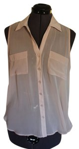Lush Sleeveless Tank Button Up Top Light pink