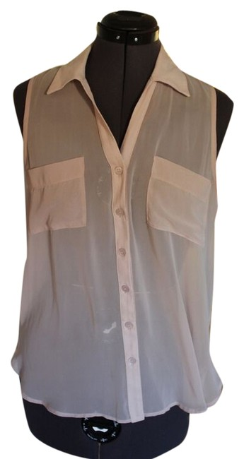 Lush Sleeveless Tank Button Up Button Sheer Top Light pink