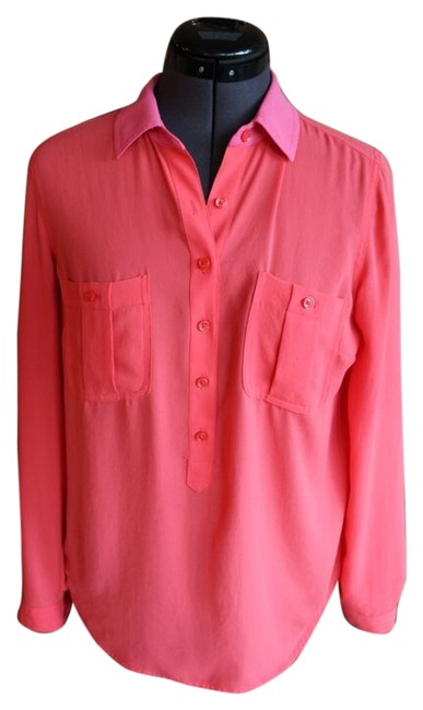 Ann Taylor LOFT Two-tone Top Pink and coral