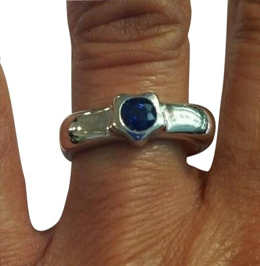 Other Blue Sapphire Shoulder Ring 14k White Gold, Vintage, Size 7