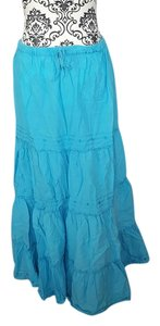 SheCool Long Boho Gypsy Maxi Skirt Blue