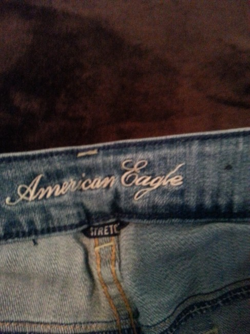 American Eagle Outfitters Distressed Light Casual Fun Flare Leg Jeans-Distressed Image 1